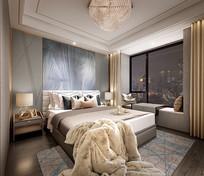 轻奢风室内卧室效果 JPG