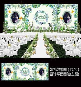 热带雨林植物森系婚礼背景设计