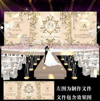 香槟金森系婚礼舞台背景