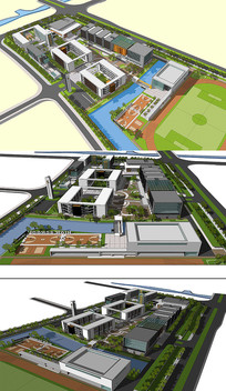 校园规划草图SU模型含CAD skp