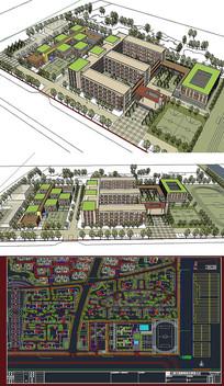 学校建筑草图SU模型含CAD skp