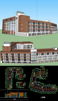 学校校园草图SU模型含CAD skp