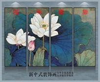 中式荷花装饰画