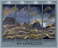 中式金线山水艺术装饰画