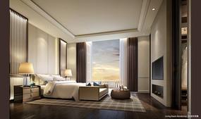 中式室内卧室效果图 JPG