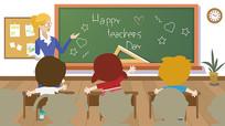 扁平老师教室讲台讲课黑板插画