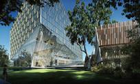 玻璃幕墙酒店建筑透视图 JPG