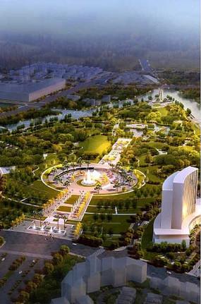 城市公共空间景观效果图