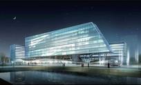传媒大厦建筑夜景效果图 JPG