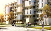 大学宿舍楼建筑透视图 JPG