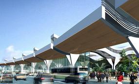 国际机场航站楼建筑透视图