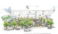 国际商业广场绿地手绘图