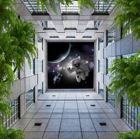梦幻星空星球天顶壁画地画