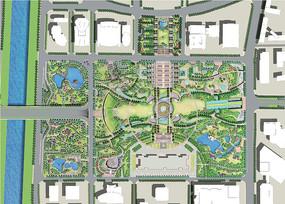 商务区广场景观规划彩平图