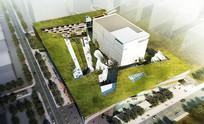 银行服务中心建筑景观效果图