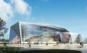 艺术中心建筑透视图