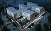 医院夜景景观鸟瞰图 JPG