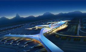机场夜景整体鸟瞰图