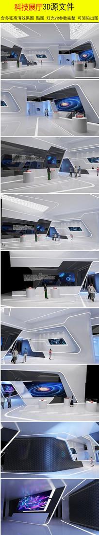 科技企业展厅设计3d模型