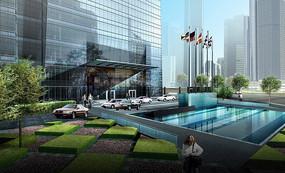 银行办公大楼景观效果图