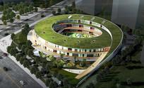 圆形生态幼儿园建筑 JPG