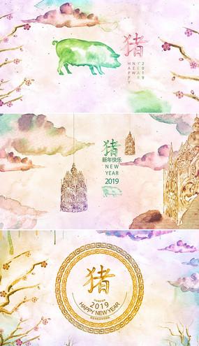 中国风12生肖猪年新年模板