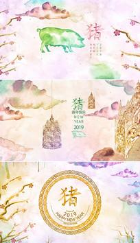 中国风12生肖猪年新年模板 aep