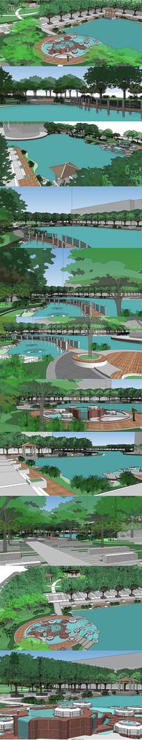 公园广场景观设计规划SU模型