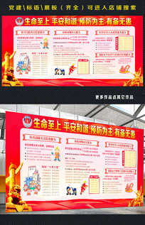 红色消防知识宣传展板
