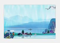 湖景洋房海报背景设计 PSD