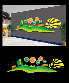 绿色餐厅文化墙