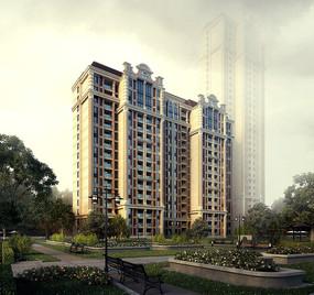 现代住宅景观效果图 JPG