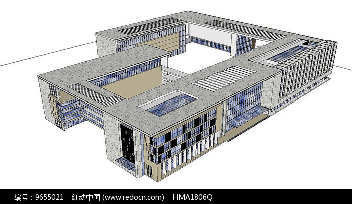校园建筑su模型图片