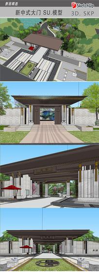 中式大门建筑模型