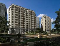 住宅区建筑景观透视 JPG