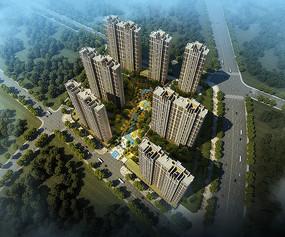 住宅区绿化鸟瞰图