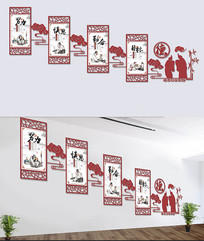 传统国学文化楼梯展板