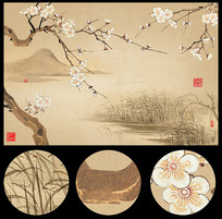 复古工笔梅花中式装饰画