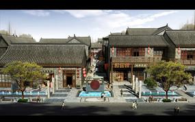 古典商业街入口水景观