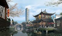 中式商业城小桥流水景墙