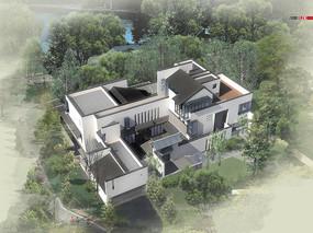 新中式别墅建筑鸟瞰图