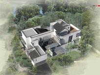 新中式别墅建筑鸟瞰图 JPG