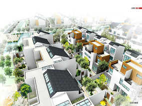 中式现代别墅群鸟瞰图