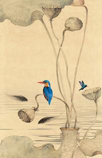中式玄关抽象荷花鲤鱼装饰画