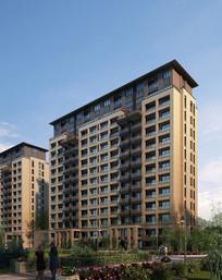 小高层住宅楼景观透视图 JPG