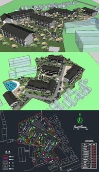 养老建筑SU模型含CAD