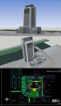 银行草图大师SU模型含CAD