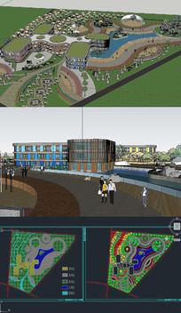幼儿园建筑SU模型含CAD