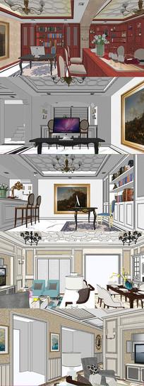 法式客厅酒吧书房场景模型