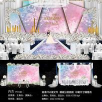 粉色梦幻婚礼舞台背景